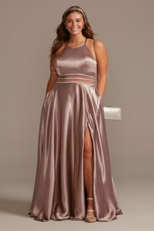 Long A-Line Halter Dress - Jules and Cleo