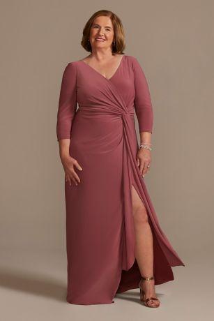 Long Sheath 3/4 Sleeves Dress - Oleg Cassini