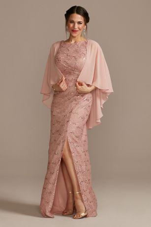 Long Sheath Capelet Dress - Oleg Cassini