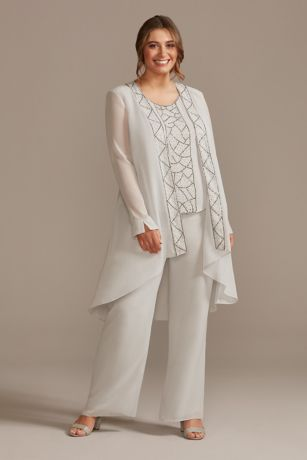 Plus Chiffon 3-Piece Pantsuit Set with Beading