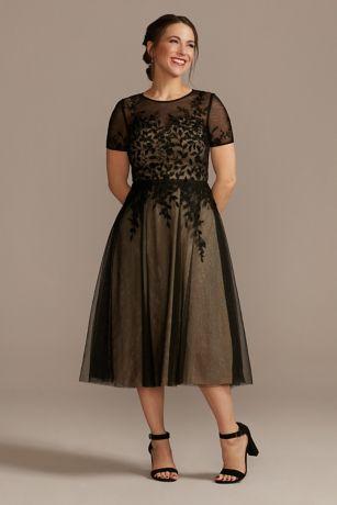 Net Tea-Length Dress with Short Sleeves