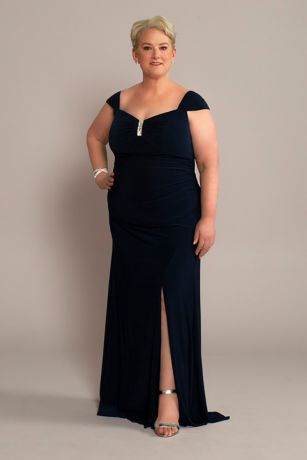 Plus Jersey Gown with Swag Sleeves and Crystals