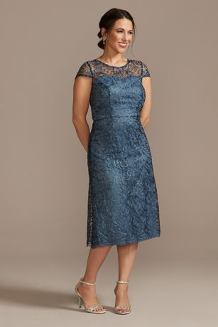 Short Sheath Cap Sleeves Dress - Oleg Cassini