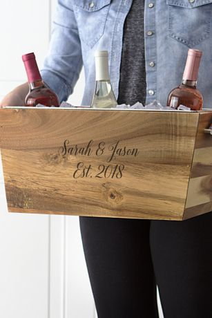 Personalized Wedding Date Acacia Beverage Trough