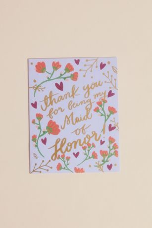 Thank You Maid of Honor Card with Envelope