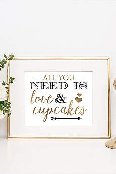 Love and Cupcakes Wedding Dessert Table Sign