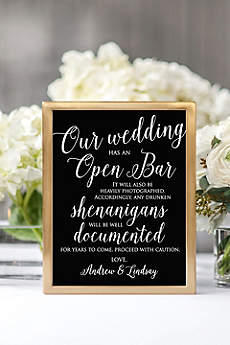 Personalized Open Bar Script Reception Sign