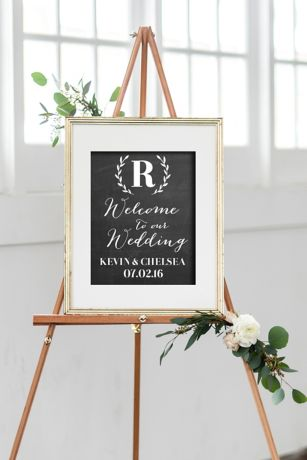 Personalized Monogram Wreath Wedding Welcome Sign