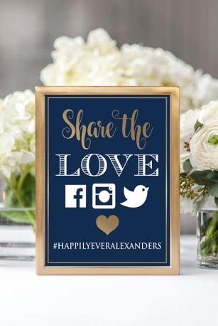 Personalized Share the Love Wedding Hashtag Sign