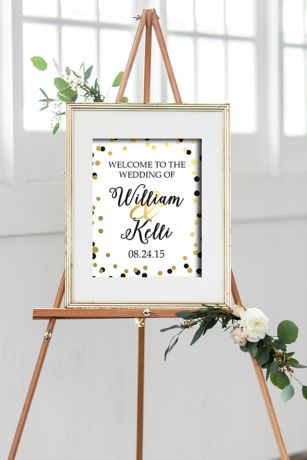 Personalized Black and Gold Dot Welcome Sign