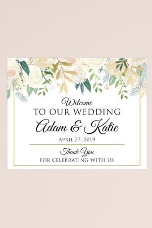Gold Floral Personalized Wedding Welcome Sign