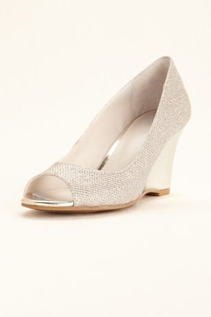 David's Bridal Grey;Yellow Wedges (Glitter Peep Toe Wedge)
