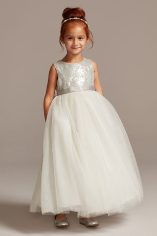 As Is Heart Back Sequin and Tulle Flower Girl Gown