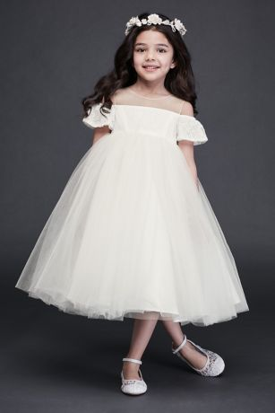 Tea Length Ballgown Short Sleeves Dress - David's Bridal