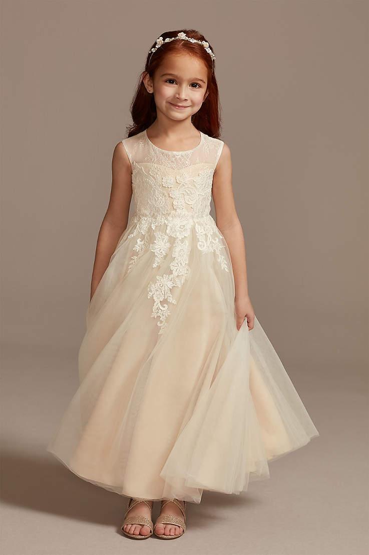 Lace flower girl dress ivory junior flower girl dresses princess dress toddler girls communion dress pageant dress girl beige dress girl
