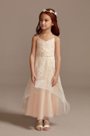 Glitter Tulle Flower Girl Dress with Keyhole Back