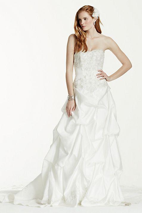 Satin Wedding Dress with Beading and Pick-Up Skirt | David\'s Bridal