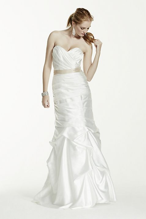 Ruched Strapless Wedding Dress with Pick-up Skirt | David\'s Bridal