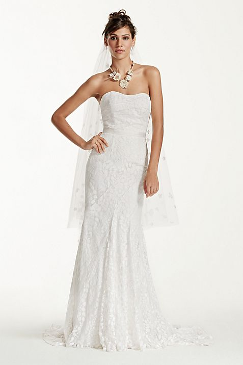 Petite Strapless Lace Gown with Ribbon Detail | David\'s Bridal