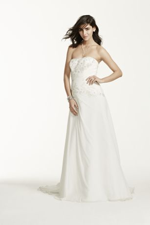 Chiffon Over Satin Gown with Side Draped Skirt