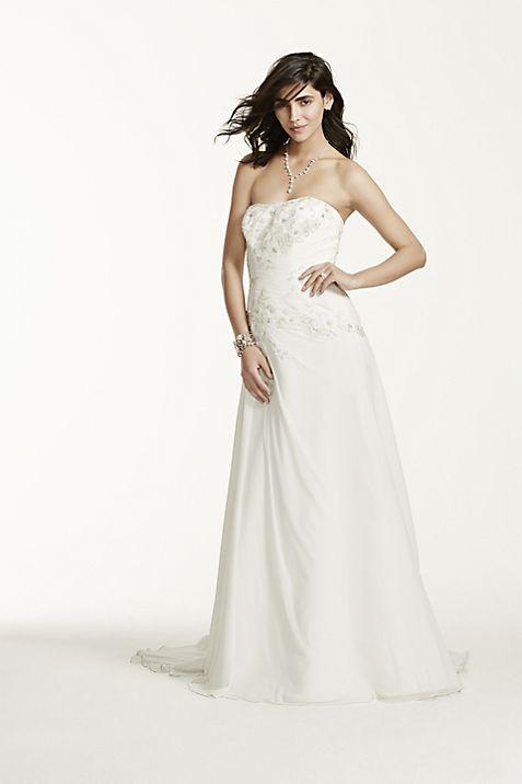 Chiffon Over Satin Wedding Dress with Side Drape | David\'s Bridal