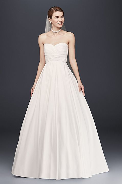 Pleated Strapless Wedding Dress with Empire Waist | David\'s Bridal