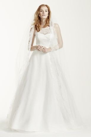 Illusion Lace Tank A-Line Gown with Tulle Skirt