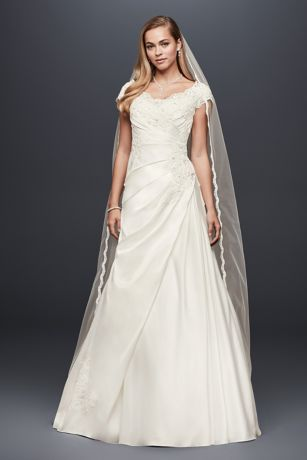 Appliqued Gathered Satin A-Line Wedding Dress