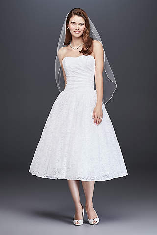 Tea Length Drop Waist Lace Wedding Dress