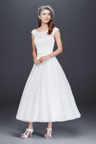 Short A-Line Wedding Dress - David s Bridal Collection 2824ea9613c5