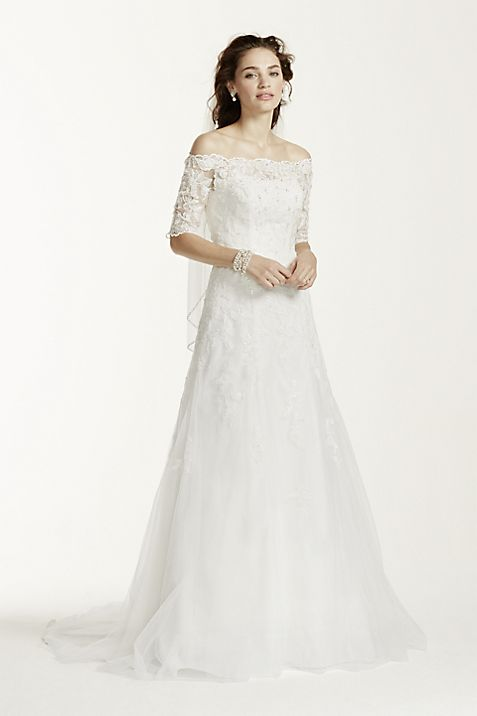 Off The Shoulder Lace Wedding Dress with Sleeves | David\'s Bridal