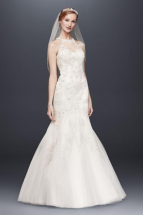 Jewel Lace and Tulle Illusion Neck Wedding Dress | David\'s Bridal