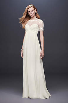 Chiffon Wedding Dress with Illusion Lace Sleeves