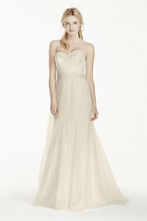 Strapless Tulle Over Lace Sheath Wedding Dress | David\'s Bridal