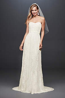 Galina Strapless Linear Lace Sheath Wedding Dress