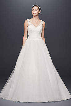 Tulle Ball Gown Wedding Dress with Illusion Straps