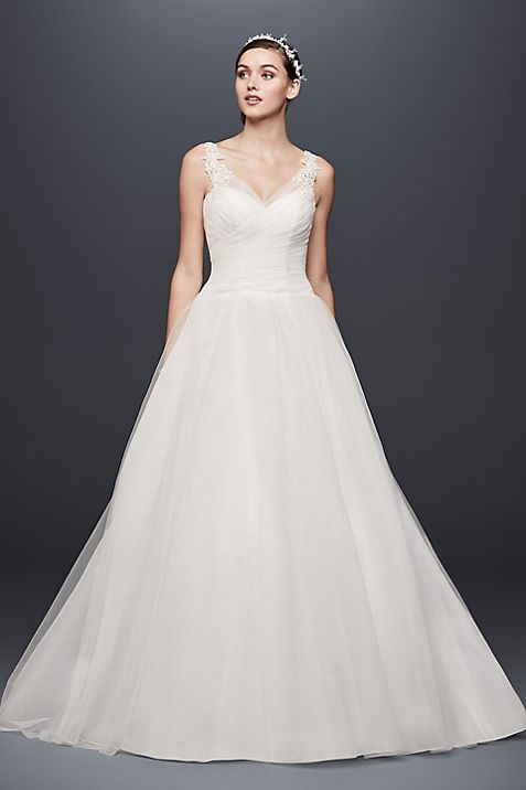 Tulle Ball Gown Wedding Dress with Illusion Straps | David\'s Bridal