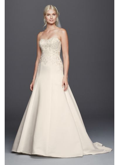 As-Is Satin Beaded Strapless A-line Wedding Dress | David\'s Bridal