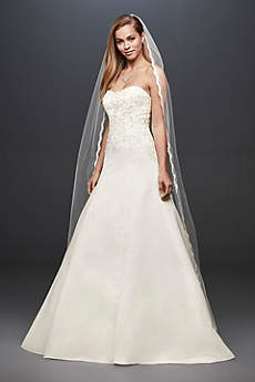 Satin Strapless A-line Wedding Dress with Beading