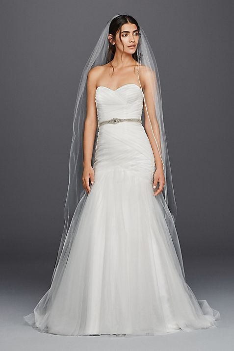Strapless Ruched Mermaid Tulle Wedding Dress | David\'s Bridal
