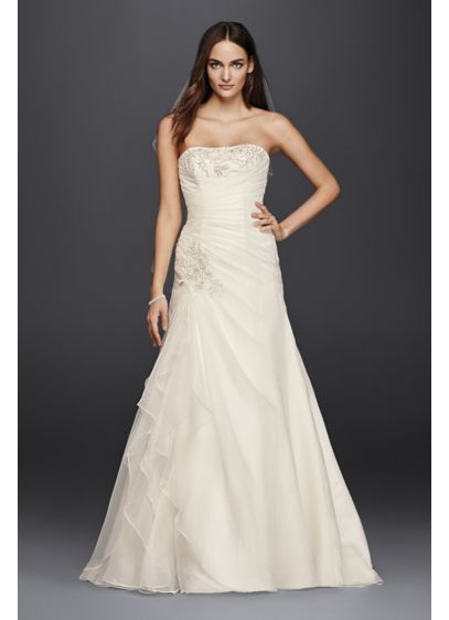 Ruched A-Line Wedding Dress with Appliques | David\'s Bridal