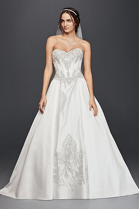 Satin Corset Ball Gown Wedding Dress | David\'s Bridal