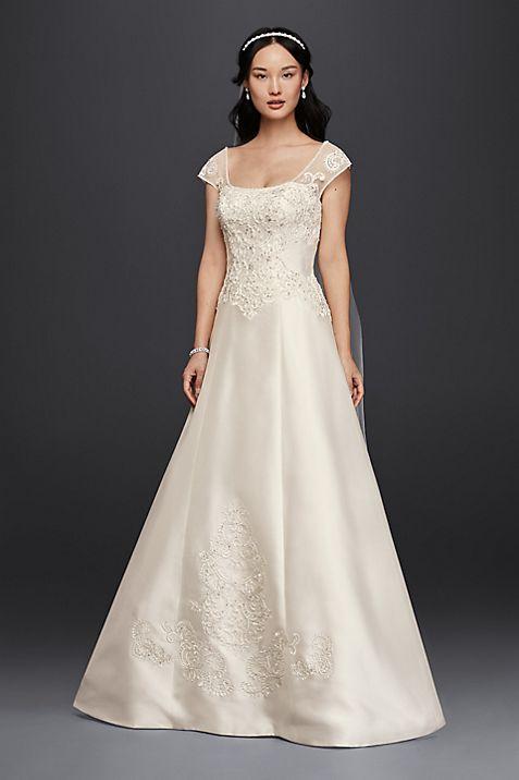 Satin Cap Sleeve Wedding Dress | David\'s Bridal