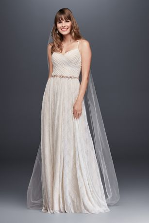As-Is Soft Lace Wedding Dress with Pleated Bodice