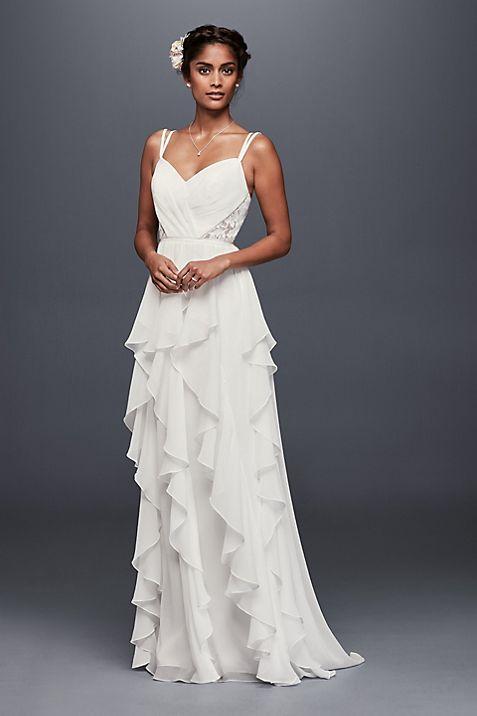 Ruffled Chiffon Wedding Dress with Lace Back | David\'s Bridal