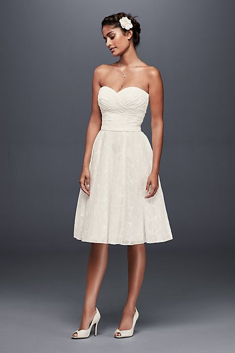 Strapless Lace Short Wedding Dress | David\'s Bridal
