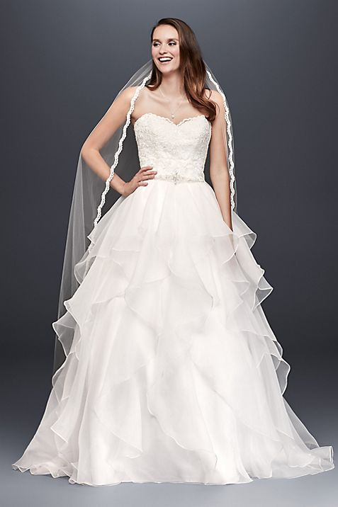 Lace and Organza Wedding Ball Gown with Beading | David\'s Bridal