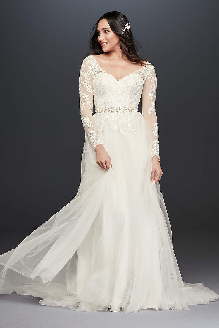 5a0634fea1d Long A-Line Wedding Dress - David s Bridal Collection
