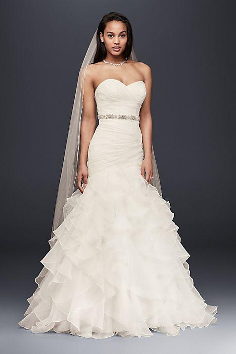 Organza Mermaid Wedding Dress with Lace-Up Back | David\'s Bridal