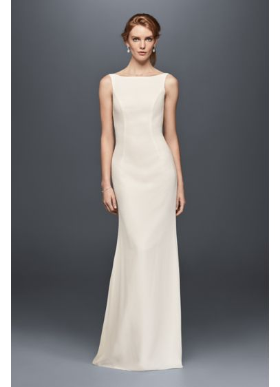 Crepe Sheath Wedding Dress with High-Neckline | David\'s Bridal